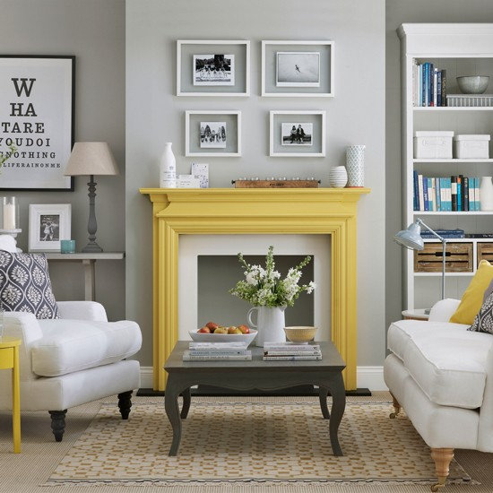 Tlife - Black white yellow living room ideas ...