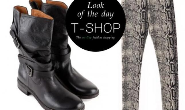 Biker boots και κολάν μαύρο snake: Κάνε δικό σου το look of the day με ένα κλικ!