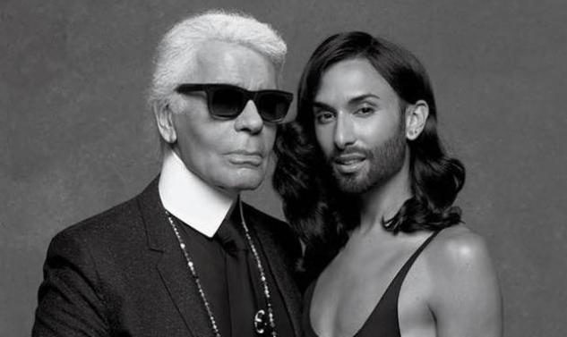Η Conchita ποζάρει στον φακό του Karl Lagerfeld με ζαρτιέρες και ακριβά ρούχα!