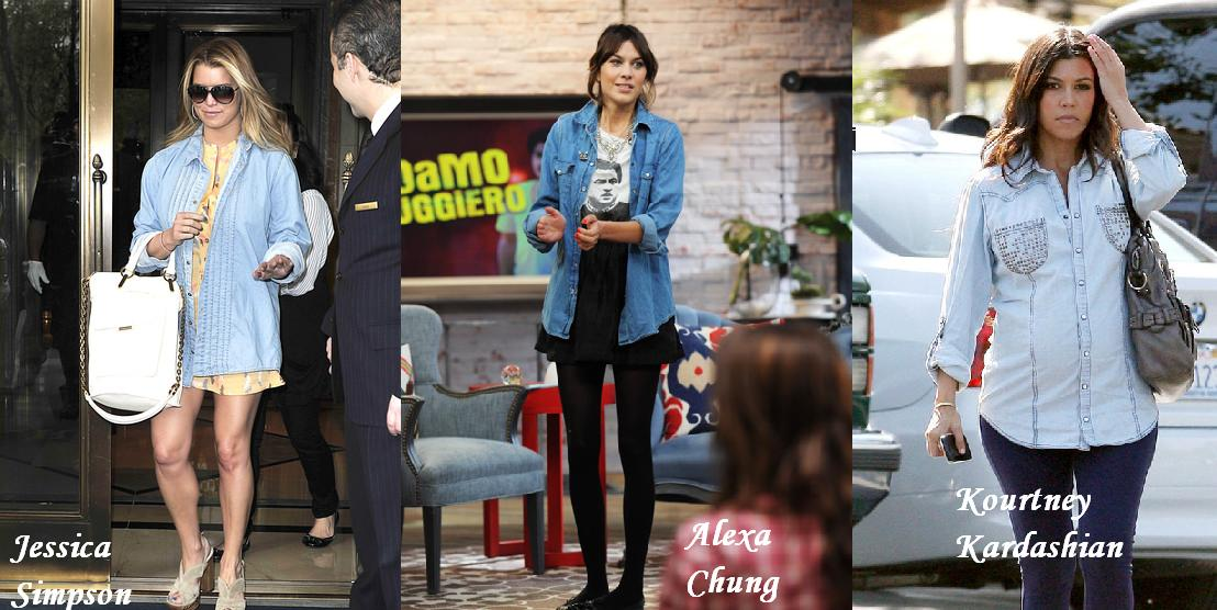 Η Alexa Chung στο πλατό του MTV φοράει ψηλόμεση φούστα και πουκάμισο H M  συνδυασμένα με Chanel μπαλαρίνες. Τα αξεσουάρ είναι από τις vintage ... 4057b72bb3a