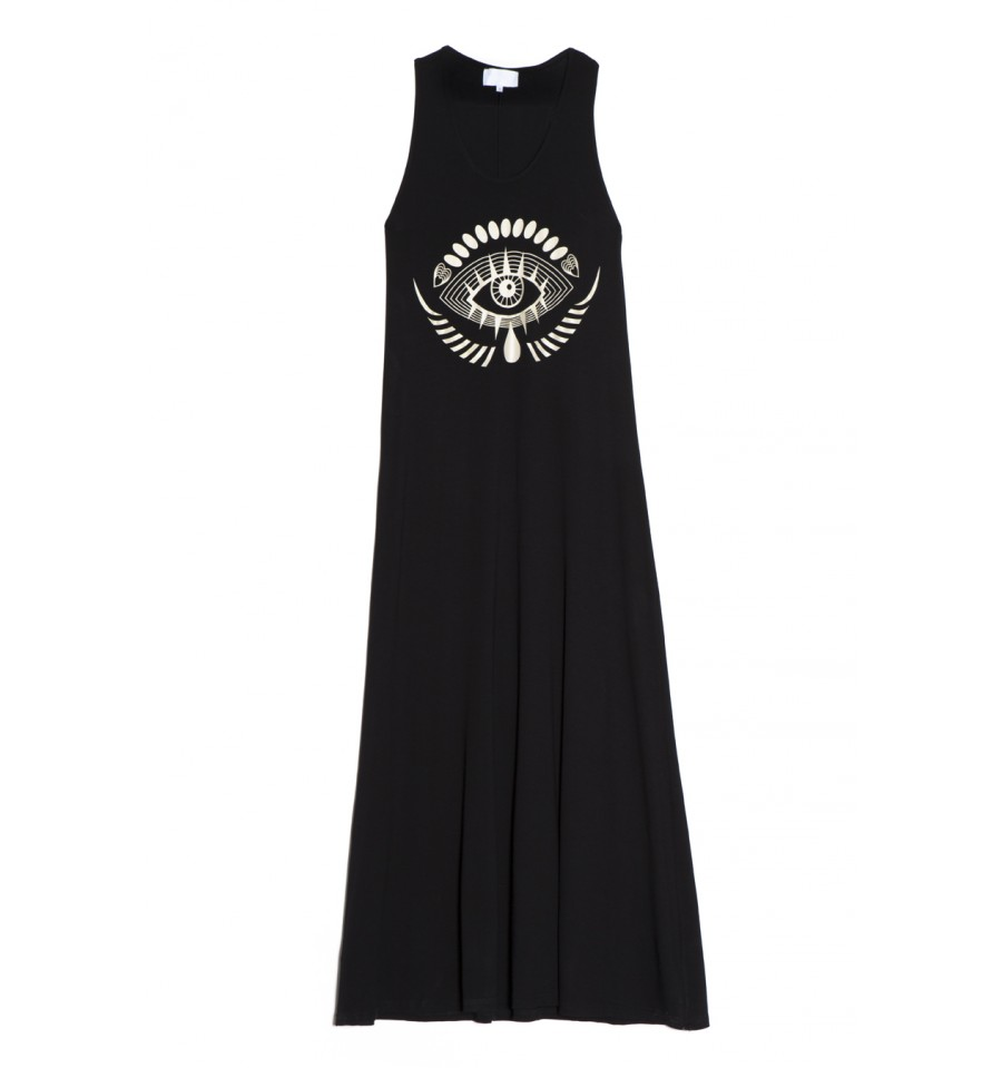 4aef2d663d19 Ένα μαύρο maxi φόρεμα σε φαρδιά γραμμή από το Brand ΣΟΜΦ που θα λατρέψεις.  Συνδύασέ το με σανδάλια και μαντήλι στα μαλλιά