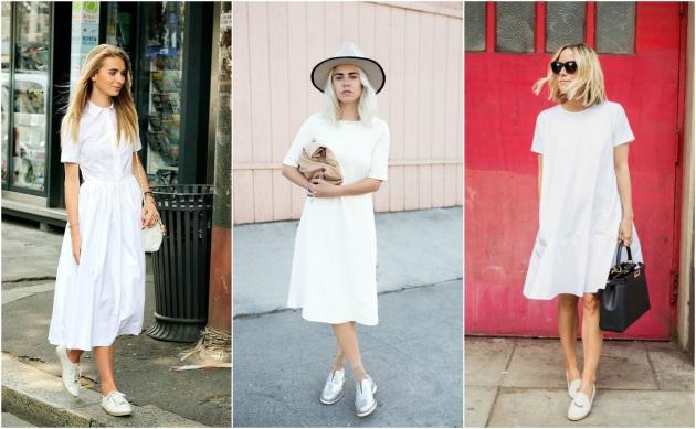 72ae54923e99 Ξεκινάμε με ένα λευκό φόρεμα που μπορεί να έχεις στην ντουλάπα σου. Μπορείς  να το αναδείξεις με λευκά sneakers, σε λίγο πιο vintage αισθητική, ...