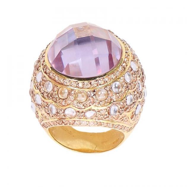 11 | Δαχτυλίδι με κεντρική μεγάλη μοβ πέτρα Jools