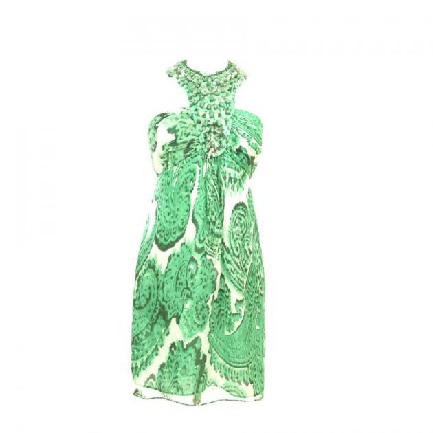 3 | Πράσινο μίνι φόρεμα με λαχούρια Milly