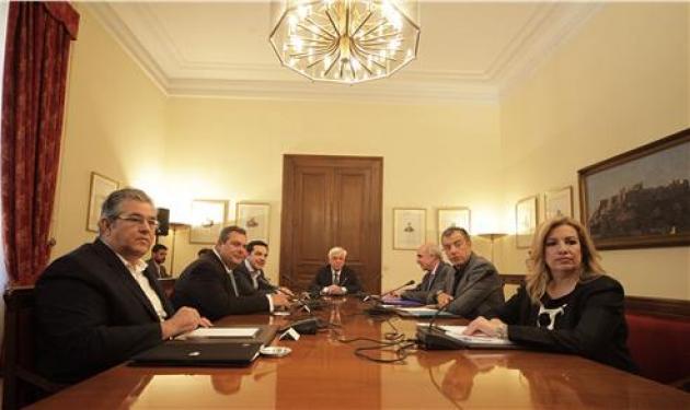 Σε εξέλιξη η σύσκεψη των πολιτικών αρχηγών- Τσίπρας και Μέρκελ, συμφώνησαν να παρουσιαστεί αύριο νέα ελληνική πρόταση