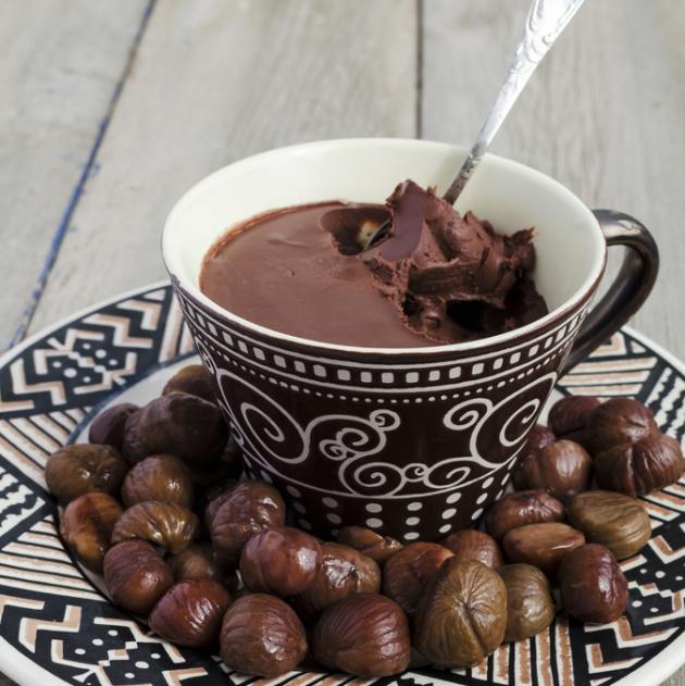 Ψητά κάστανα με μους σοκολάτας