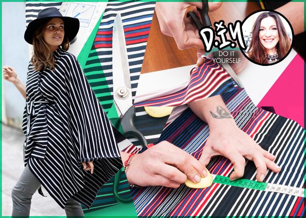 DIY: H Πόπη Αναστούλη σου δείχνει πως να φτιάξεις μόνη σου μια κομψή blanket-cape!
