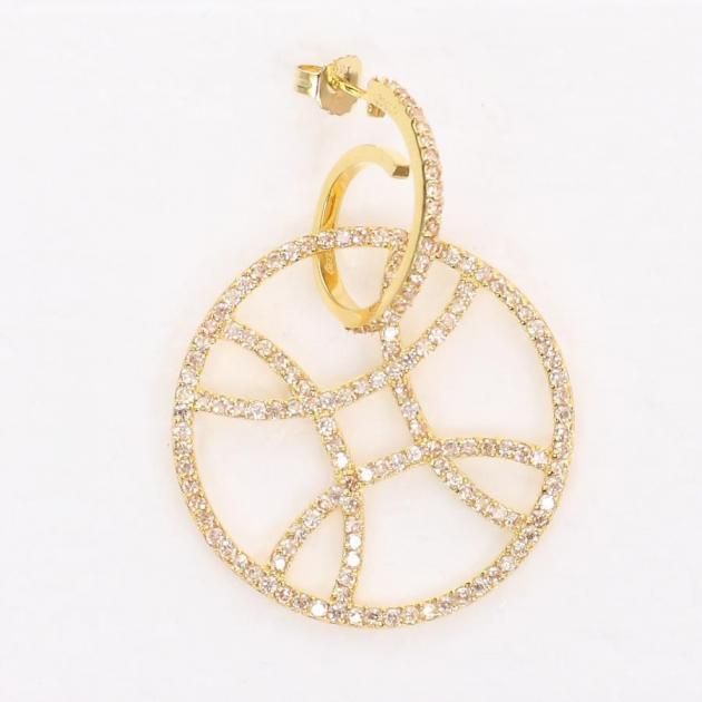 9 | Ασημένιο σκουλαρίκι σε χρυσό χρώμα με διαμαντάκια Jools