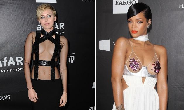 Rihanna vs Miley Cyrus: Ποια φόρεσε το πιο αποκαλυπτικό φόρεμα στο κόκκινο χαλί; | tlife.gr