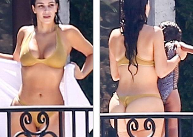 Κim Kardashian  Μπάνιο στην πισίνα με το χρυσό... ανύπαρκτο μαγιό ... 68f88256324