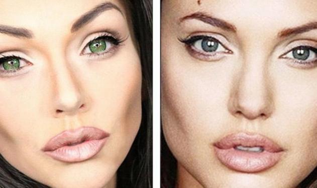 Η μακιγιέζ που μεταμορφώνεται σε Αngelina Jolie,  cartoons και ήρωες ταινιών! Φωτό και βίντεο