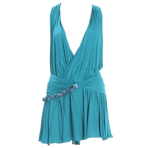 6 | Τιρκουάζ φόρεμα με ντεκολτέ Pinko