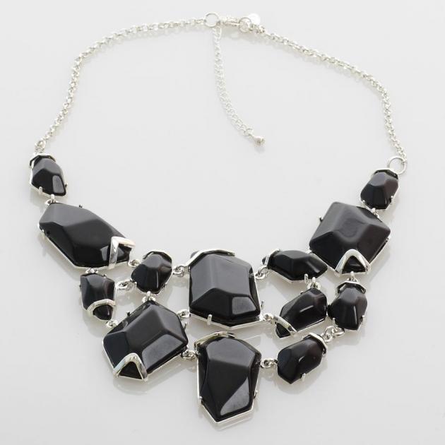 7 | Aσημί κολιέ με μαύρες πέτρες Mabo