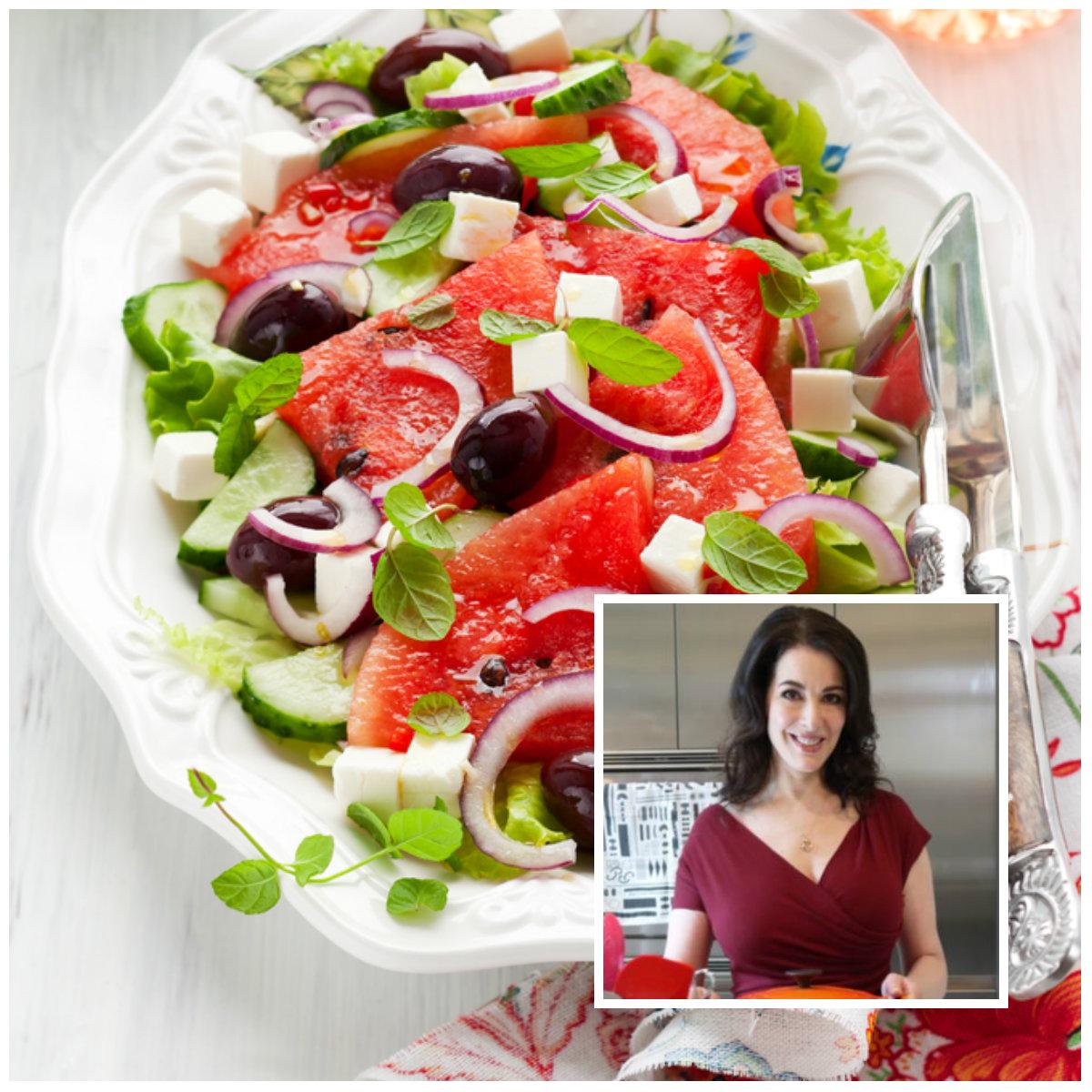 Σαλάτα καρπούζι με φέτα και ελιές