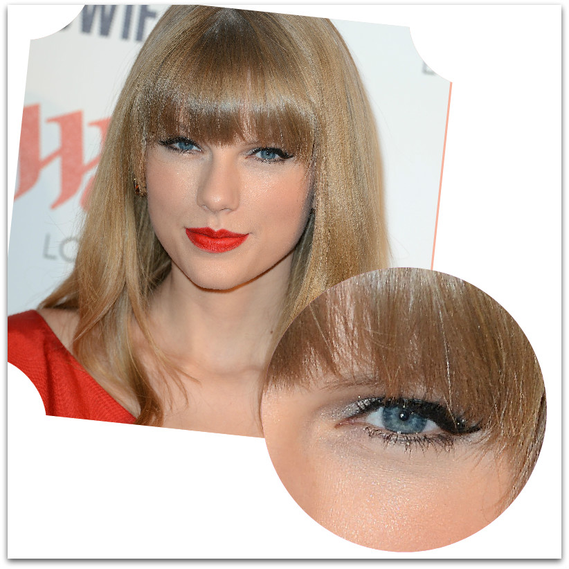 4   Eyeliner+ shimmering σκιά+ κόκκινο κραγιόν
