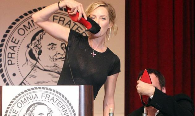 Therman και Tarantino ήπιαν σαμπάνια από τη γόβα στιλέτο!