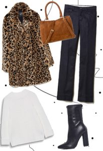 Look με leopard παλτό