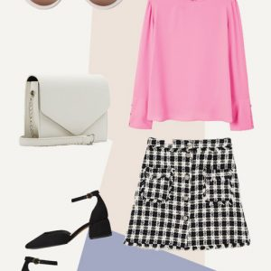 Tweed skirt look