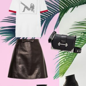 Lux leather skirt look