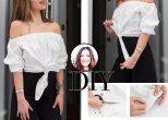 DIY: Πως να μετατρέψεις ένα κλασικό πουκάμισο σε off shoulder τοπ