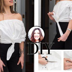 Η Πόπη Αναστούλη σου δείχνει πως να μετατρέψεις ένα κλασικό πουκάμισο σε off shoulder τοπ