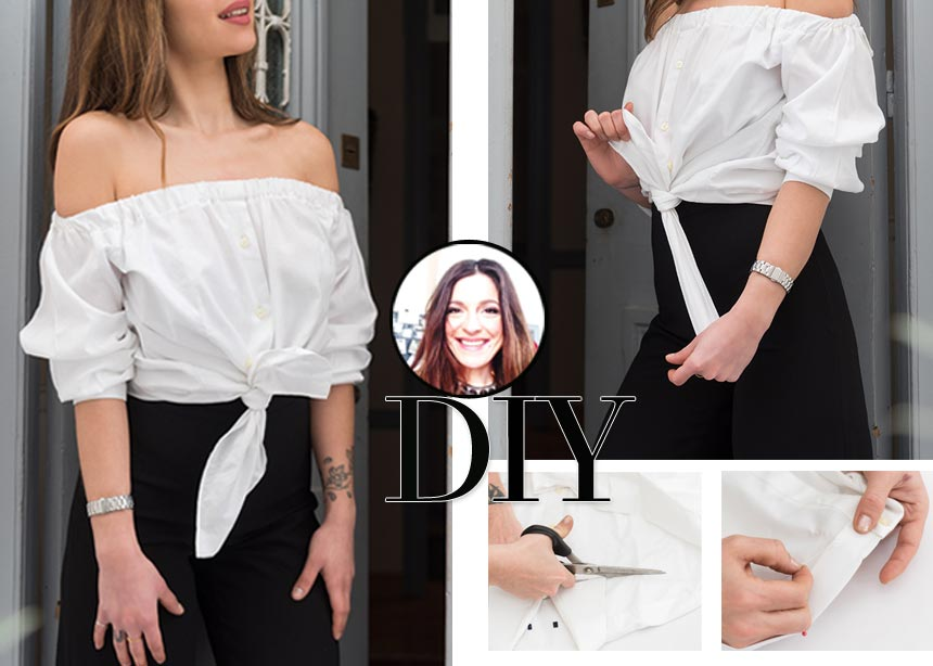 DIY: Πως να μετατρέψεις ένα κλασικό πουκάμισο σε off shoulder τοπ | tlife.gr
