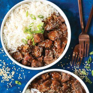 Κορεάτικο μοσχάρι με σάλτσα και ρύζι
