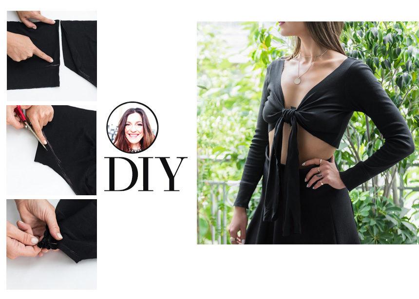 DIY: Πως να κάνεις εύκολα σε ένα τοπ σου το tie front (aka το δέσιμο μπροστά) | tlife.gr