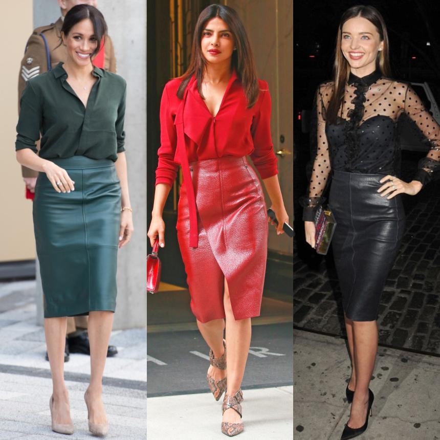 Οι σταρ επιλέγουν μονοχρωμία και leather skirt | tlife.gr