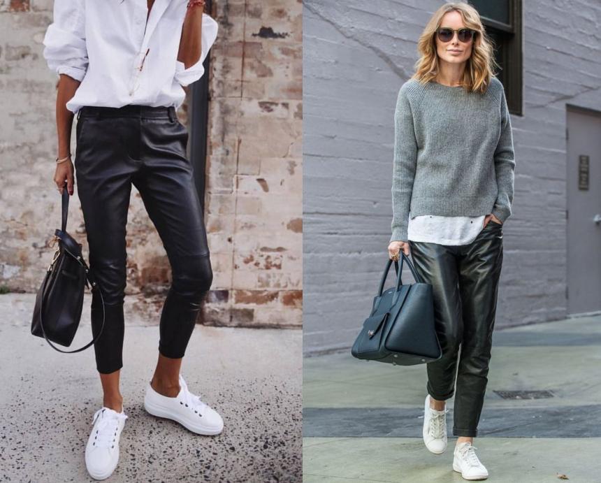 e877958d3f5c Για πρωινές εμφανίσεις μπορείς να συνδυάσεις το δερμάτινο παντελόνι με ένα  λευκό ανδρικό πουκάμισο και λευκά sneakers. Ιδανικά απόφυγε το backpack και  ...