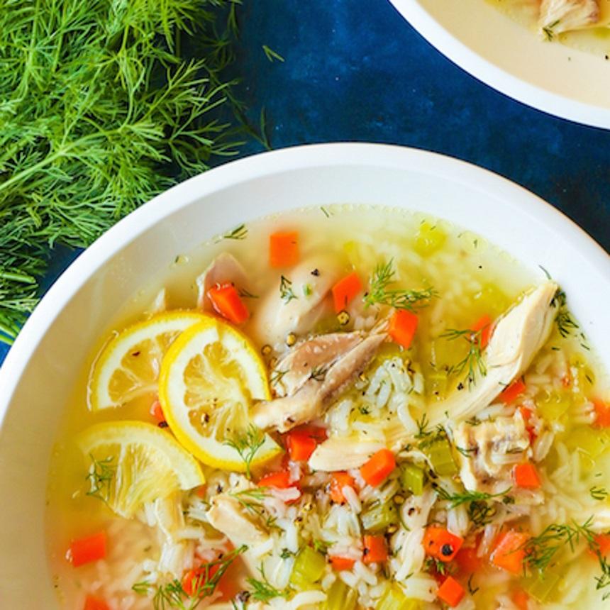 Σούπα λεμονιού με κοτόπουλο και ρύζι