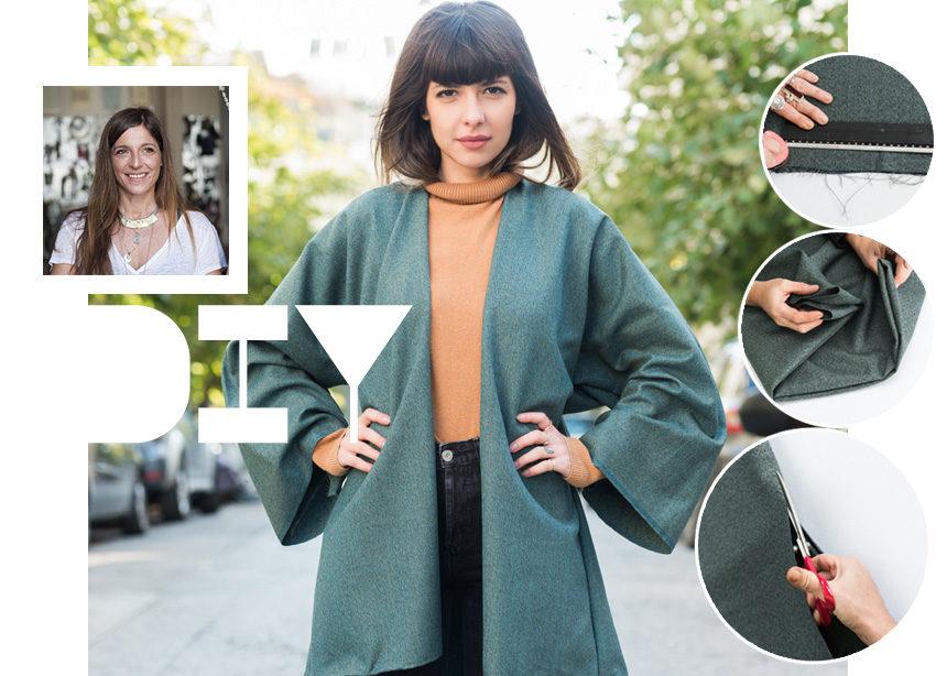 DIY: Βήμα – βήμα πως να φτιάξεις ένα winter kimono που θα αναβαθμίσει το στιλ σου | tlife.gr