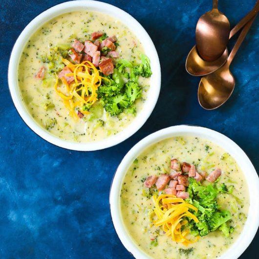 Βελουτέ σούπα μπρόκολου με ζαμπόν και cheddar   tlife.gr