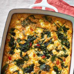Ομελέτα φούρνου με baby σπανάκι, άνηθο και φέτα