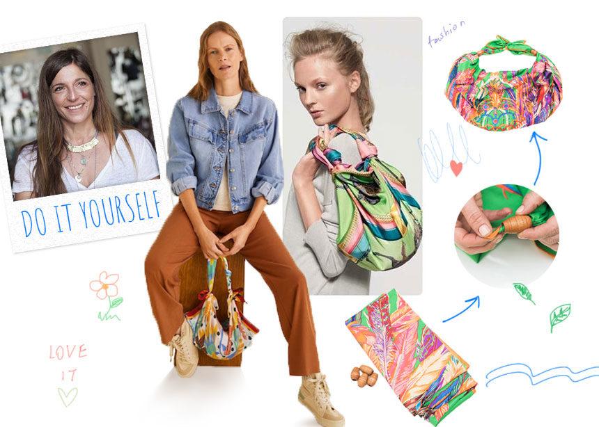 DIY: Βήμα – βήμα πως να φτιάξεις μόνη σου μία τσάντα από μαντήλι   tlife.gr