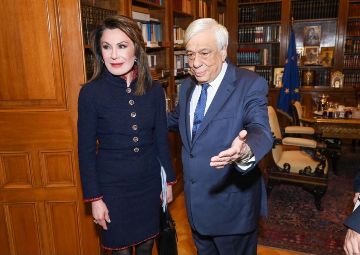 Γιάννα Αγγελοπούλου: Με chic lady look στη συνάντηση με τον Προκόπη Παυλόπουλο!