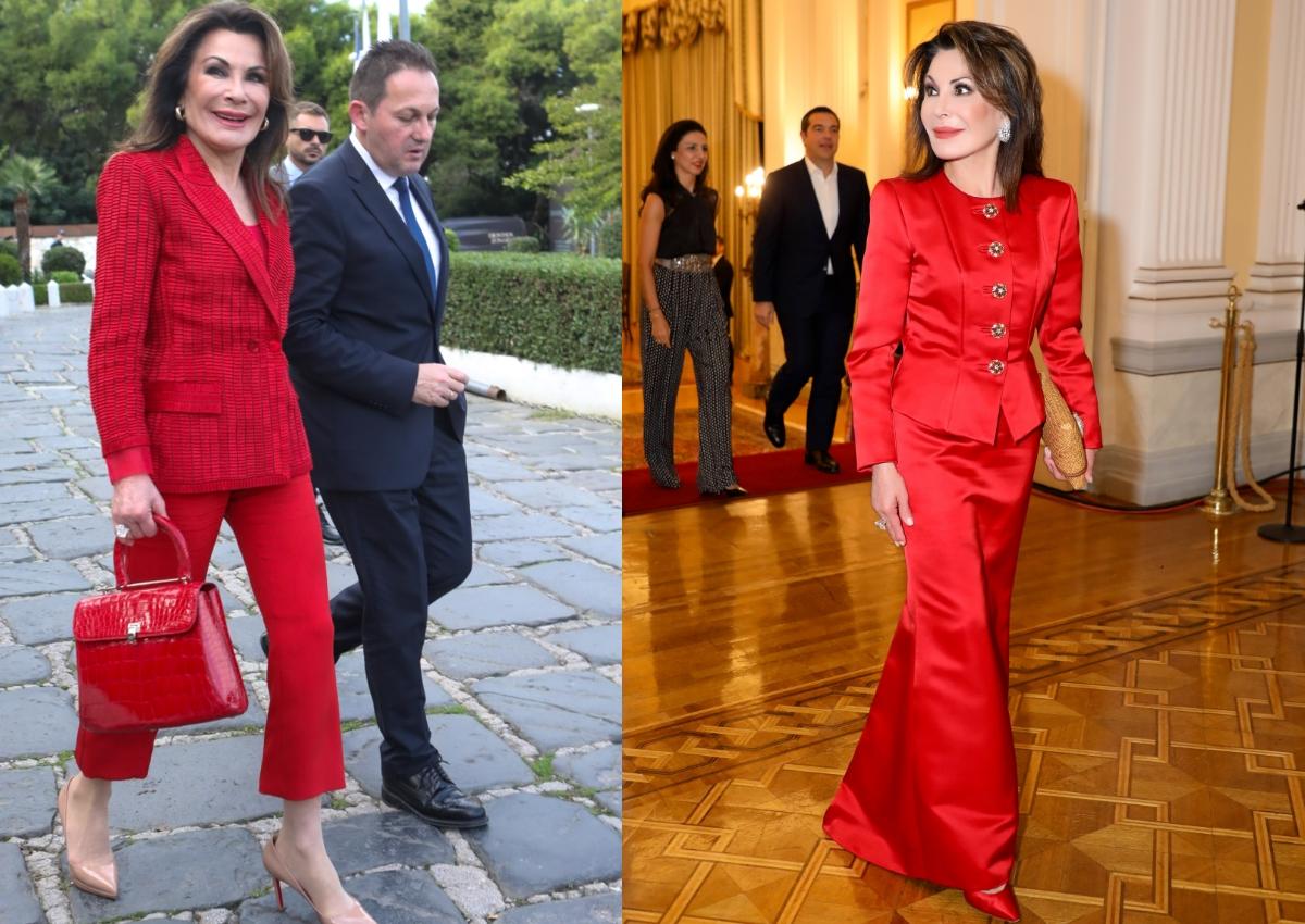 Γιάννα Αγγελοπούλου: Lady in red στις συναντήσεις με τον Πρόεδρο της Κίνας! [pics]
