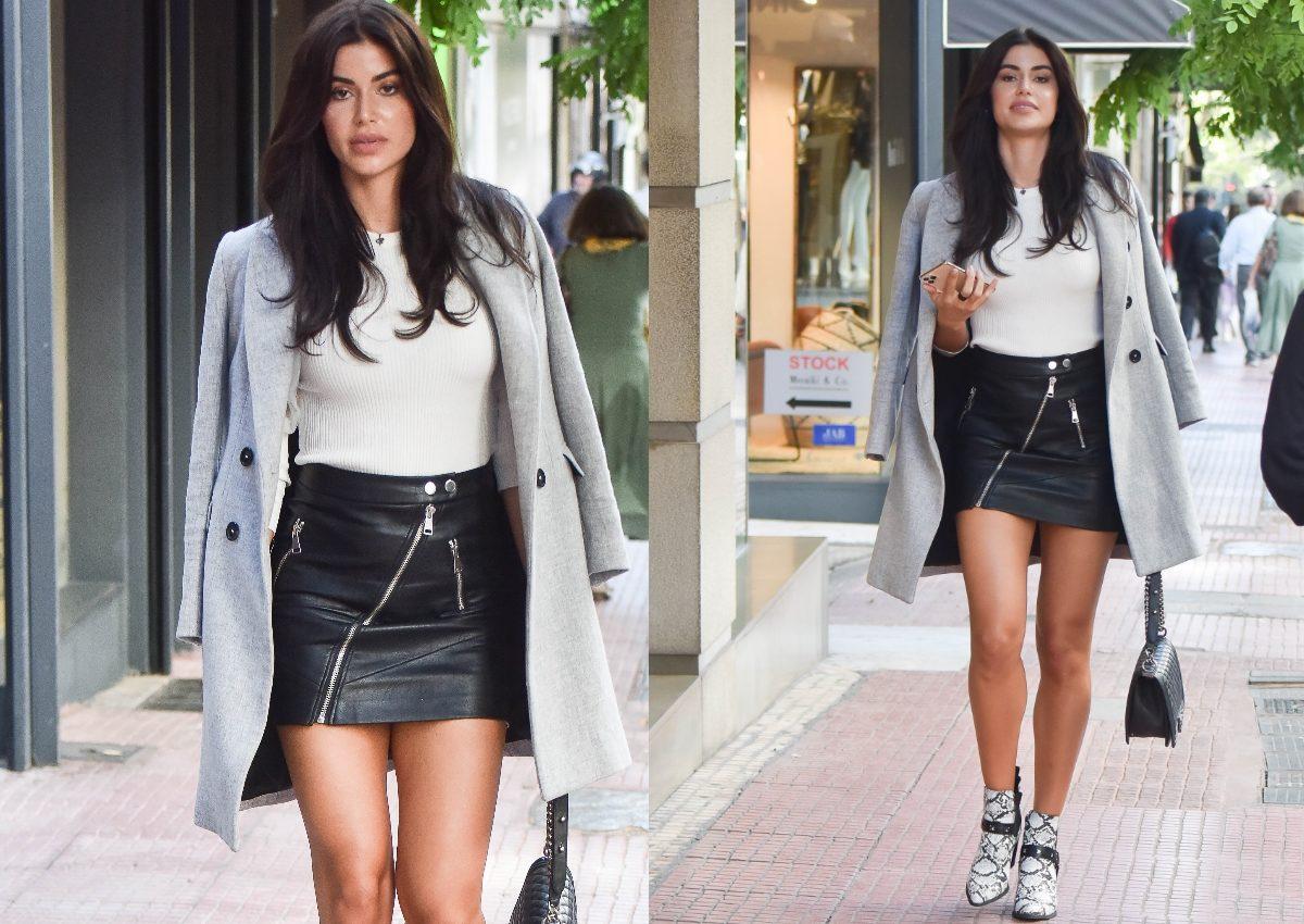 Ιωάννα Μπέλλα: Τράβηξε τα βλέμματα στην Αθήνα με την κοντή leather φούστα της! [pics] | tlife.gr