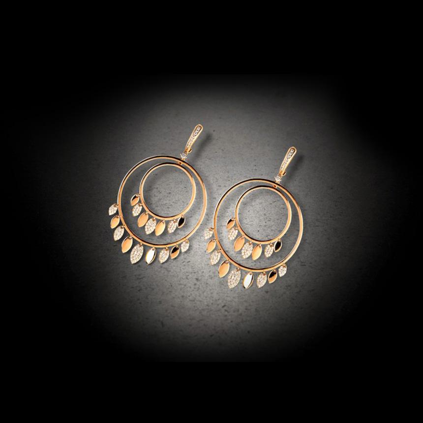 Χρυσά σκουλαρίκια με diamonds, Imanoglou