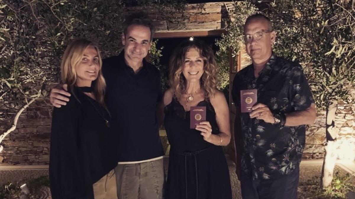 Κυριάκος και Μαρέβα Μητσοτάκη: Η συνάντηση με τον Tom Hanks και την Rita Wilson και το μήνυμα του πρωθυπουργού