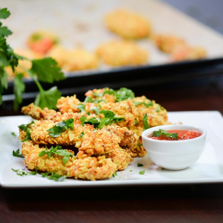 Συνταγή για φιλετίνια κοτόπουλου με κρούστα δημητριακών