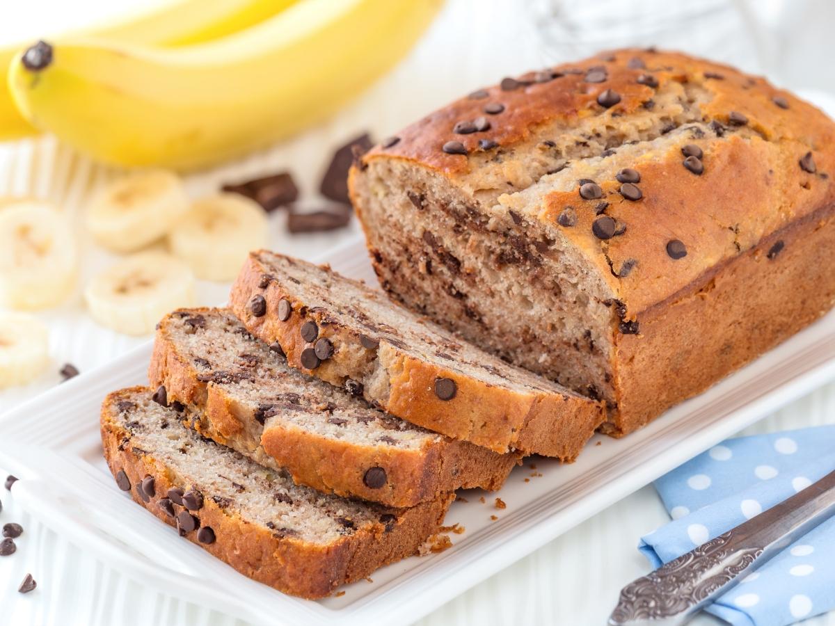 Συνταγή για εύκολο banana bread με κομματάκια σοκολάτας