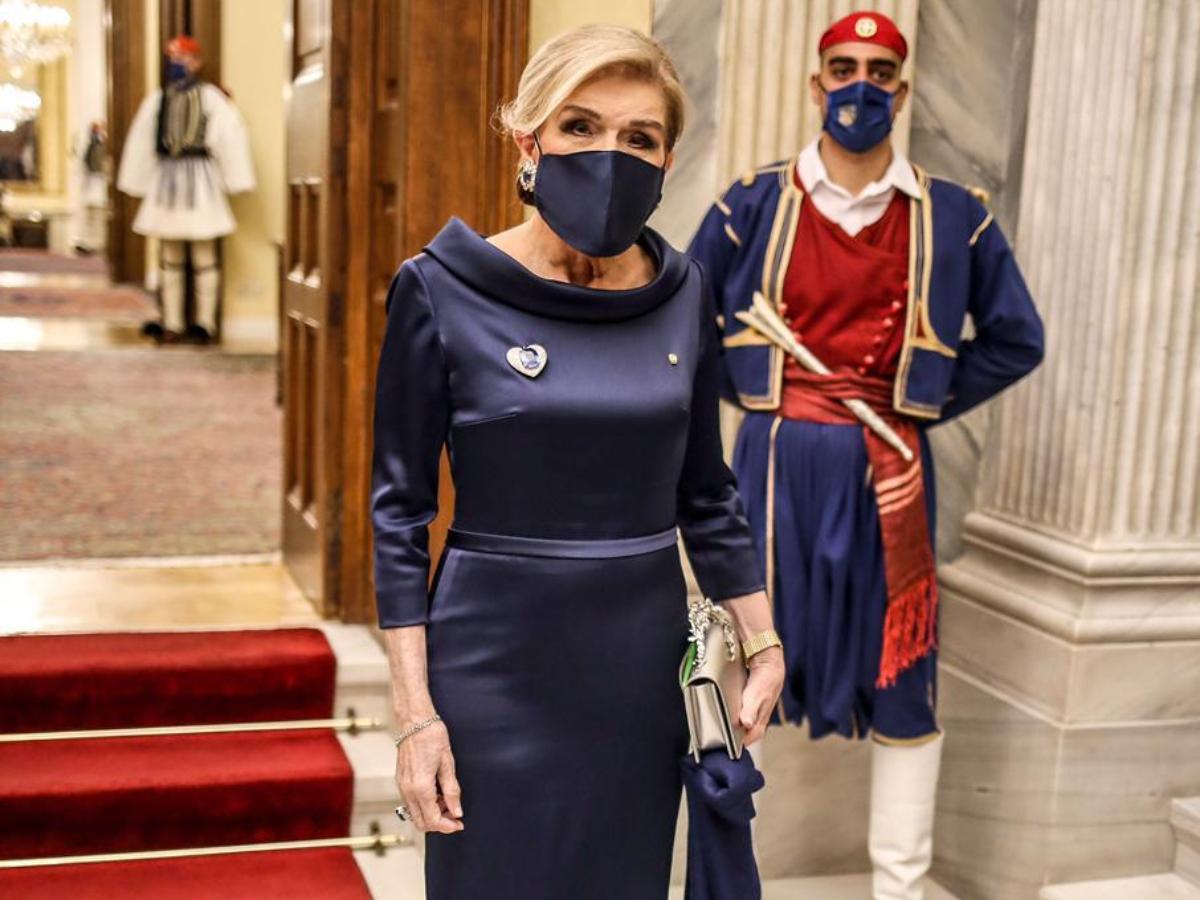 Η Μαριάννα Βαρδινογιάννη εντυπωσίασε στο Προεδρικό Μέγαρο με δημιουργία Celia Kritharioti Haute Couture